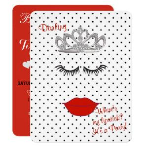 BRIDE & CO Where's My Lipstick Shower Tiara Party Invitation starting at 2.85