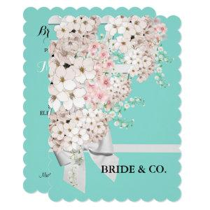 BRIDE Flowers & Lattice Teal Blue Tiara Party Invitation starting at 3.30