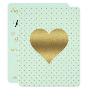BRIDE Mint And Gold Heart Polka Dot Shower Party Invitation starting at 2.40