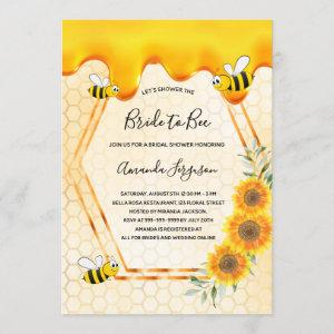 Bride to Bee gold sweet honey drips bridal shower Invitation starting at 2.40
