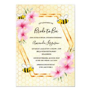 Bride to bee honeycomb pink florals bridal shower invitation starting at 2.40