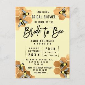 Bride to Bee Quote Gold Honeycomb Bridal Shower Invitation Postcard starting at 1.80