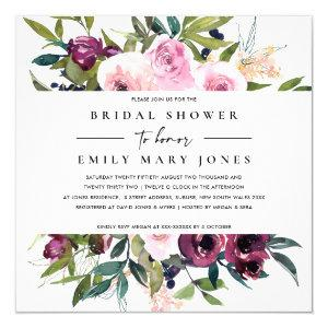BRIGHT BLUSH BURGUNDY FLORAL BUNCH BRIDAL SHOWER INVITATION starting at 2.55