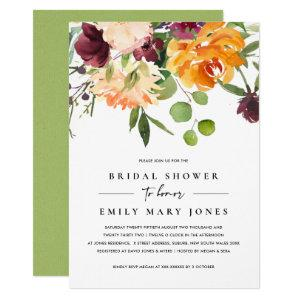 BRIGHT BLUSH YELLOW ORANGE FLORAL BRIDAL SHOWER INVITATION starting at 2.35