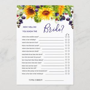 Bright Sunflower Double-Sided Bridal Shower Game Invitation starting at 2.40