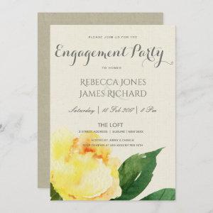 BRIGHT YELLOW WATERCOLOR FLORAL ENGAGEMENT INVITATION starting at 2.51