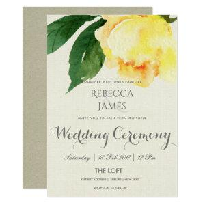 BRIGHT YELLOW WATERCOLOR FLORAL WEDDING INVITATION starting at 2.51