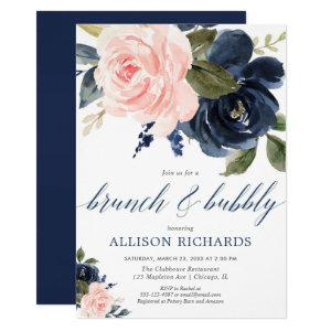 Brunch and Bubbly blush pink and navy blue Invitation starting at 2.55