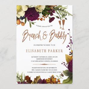 Brunch and bubbly fall floral gold bridal shower invitation starting at 2.45