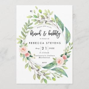brunch and bubbly greenery blush bridal shower invitation starting at 2.56