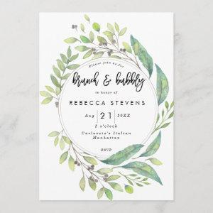brunch and bubbly greenery bridal shower invitation starting at 2.56