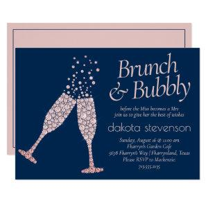 Brunch and Bubbly | Navy Blue Blush Pink Shower Invitation starting at 2.40