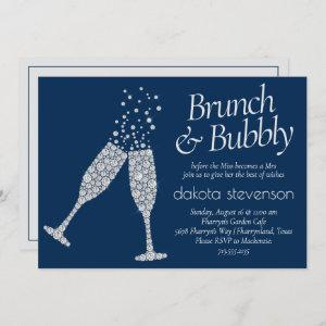 Brunch and Bubbly | Navy Blue Silver Gray Shower Invitation starting at 2.40