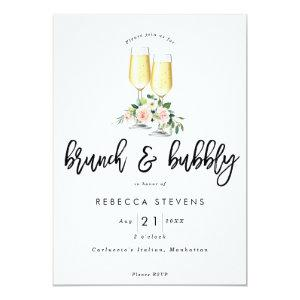 brunch and bubbly pink floral bridal shower invitation starting at 2.56