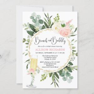 Brunch and Bubbly pink gold greenery bridal shower Invitation starting at 2.55