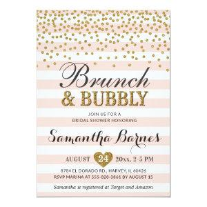 Brunch Bubbly Blush Pink Gold Bridal Shower Invitation starting at 2.45