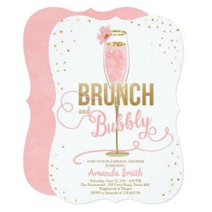 Brunch & Bubbly Bridal Shower Blush Gold Champagne Invitation starting at 2.91