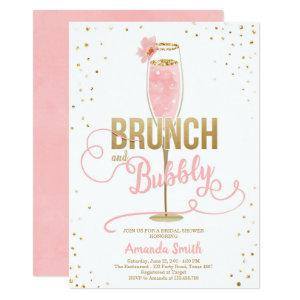 Brunch & Bubbly Bridal Shower Blush Gold Champagne Invitation starting at 2.66