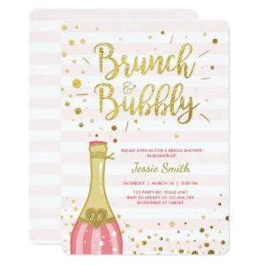 Brunch & Bubbly Bridal shower invitation Pink Gold starting at 2.86