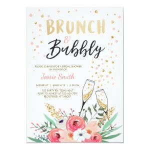 Brunch & Bubbly Bridal Shower Pink Gold Champagne Invitation starting at 2.66