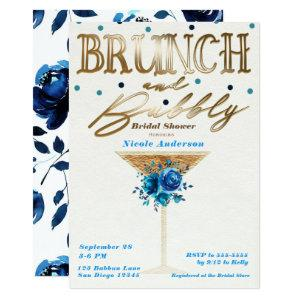Brunch Bubbly Gold Teal Blue Floral Bridal Shower Invitation starting at 2.77