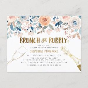 Brunch & Bubbly | Gold & Watercolor Bridal Shower Invitation Postcard starting at 1.70