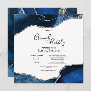 Brunch Bubbly Navy Silver Glitter Agate Shower starting at 2.41