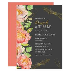 Brunch & Bubbly Roses On Slate Grey Bridal Shower Invitation starting at 2.15