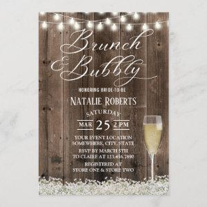 Brunch & Bubbly Rustic Baby's Breath Bridal Shower Invitation starting at 2.40