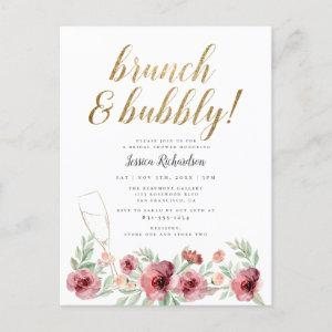 Brunch & Bubbly | Watercolor Floral Bridal Shower Invitation Postcard starting at 1.70