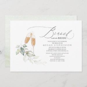 Brunch with the Bride Gold Greenery Bridal Shower Invitation starting at 2.51