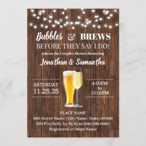 Bubbles and brews before I do rustic wedding Invitation starting at 2.55