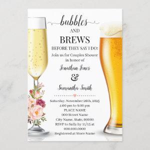 Bubbles and brews before I do wedding shower pink Invitation starting at 2.55
