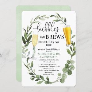 Bubbles and Brews greenery couples bridal shower Invitation starting at 2.75