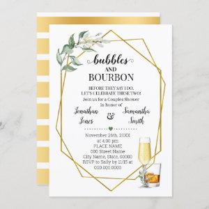Bubbles & Bourbon before I do shower greenery gold Invitation starting at 2.55