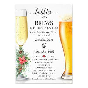 Bubbles & Brews before I do Christamas shower Invitation starting at 2.55