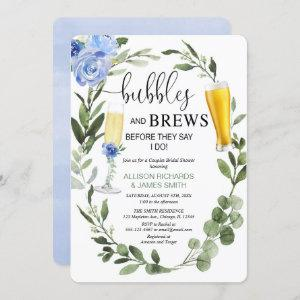 Bubbles Brews blue greenery couples bridal shower Invitation starting at 2.75