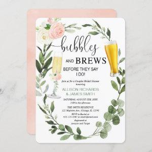 Bubbles Brews pink greenery couples bridal shower Invitation starting at 2.75