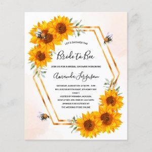 Budget Bee Bridal shower sunflowers invitation starting at 0.61