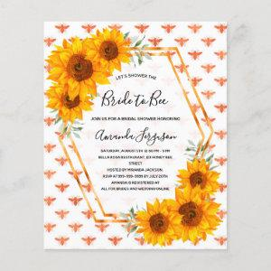 Budget Bee Bridal shower sunflowers rose gold starting at 0.55