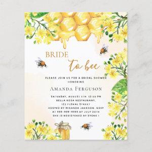 Budget Bee Bridal shower yellow florals invitation starting at 0.61