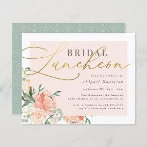 Budget Blush & Gold Script Floral Bridal Luncheon starting at 0.60