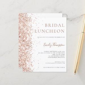 Budget Bridal Luncheon Rose Gold Glitter Invite starting at 0.61