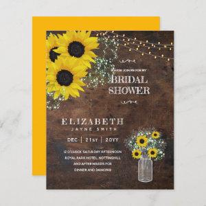 BUDGET Bridal Shower Invite Rustic Sunflowers starting at 0.61