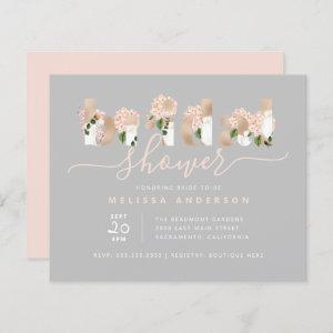 Budget Chic Blush & Gold Floral Type Bridal Shower starting at 0.60