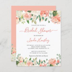 Budget Chic Coral Floral Bridal Shower Invitation starting at 0.60