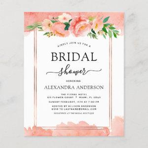Budget Coral Peach Floral Bridal Shower Invitation starting at 0.50