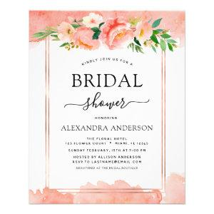 Budget Coral Peach Floral Bridal Shower Invitation Flyer starting at 0.35