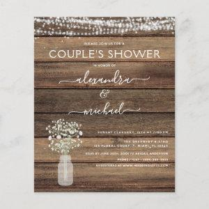 Budget Couple's Shower Rustic Invitation starting at 0.50