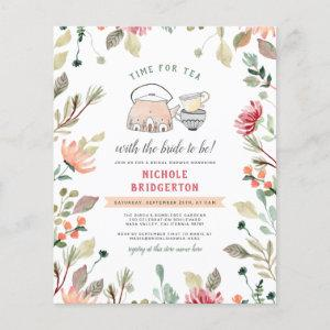 Budget Cute Pink Floral Time For Tea Bridal Shower starting at 0.61
